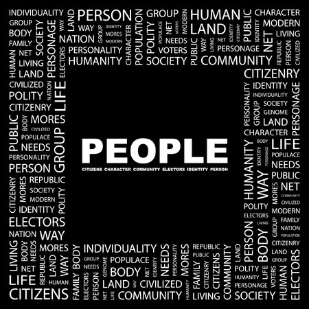 commonality: PEOPLE. Word collage on black background. Vector illustration.