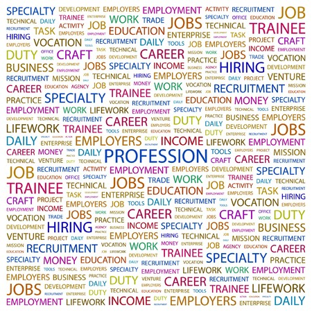 PROFESSION. Word collage on white background. Vector illustration.    Vector