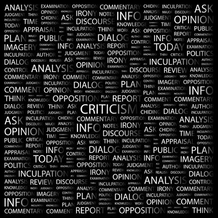 critique: CRITICISM. Word collage on black background. Vector illustration.