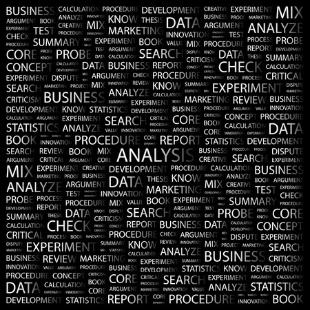 ANALYSIS. Word collage on black background. Vector illustration.    Stock Vector - 7371768