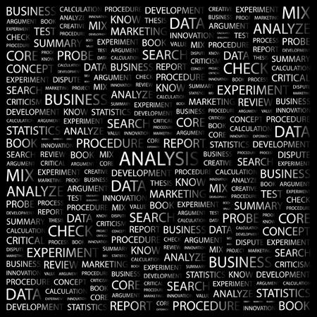 argumentation: ANALYSIS. Word collage on black background. Vector illustration.    Illustration