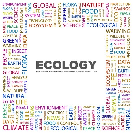 ECOLOGY. Word collage on white background. Vector illustration.    Vector