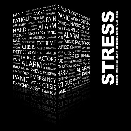 STRESS. Word collage on black background. Vector illustration.    Vector
