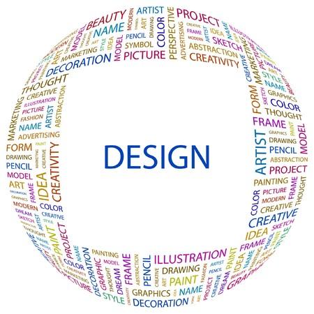 DESIGN. Wort Collage auf wei�em Hintergrund. Vektor-Illustration.  Stockfoto - 7371464