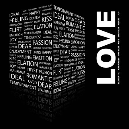 romantic: LOVE. Word collage on black background. Vector illustration.