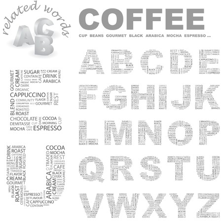 COFFEE. Vector letter collection. Wordcloud illustration.   Vector