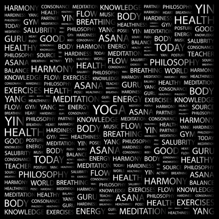 salubrity: YOGA. Word collage on black background. Vector illustration.    Illustration