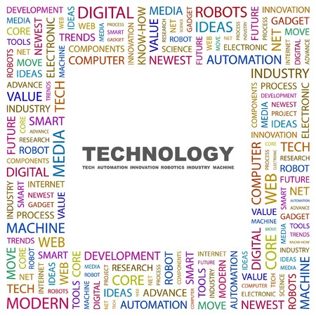technology collage: TECHNOLOGY. Word collage on white background. Vector illustration.