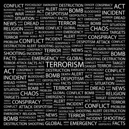 TERRORISM. Word collage on black background. Vector illustration.    Vector
