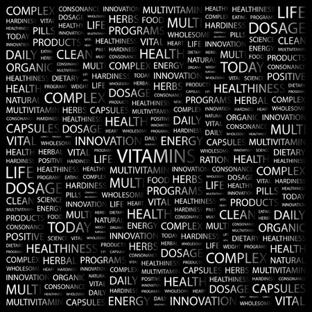 VITAMINS. Word collage on black background. Vector illustration. Stock Vector - 7371751