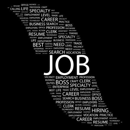 JOB. Word collage on black background. Vector illustration.    Vector