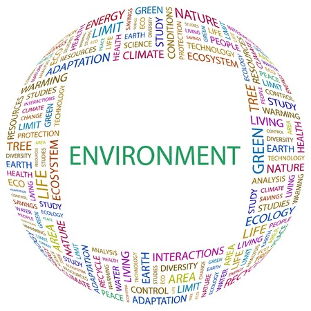 ENVIRONMENT. Word collage on white background. Vector illustration.    Vector