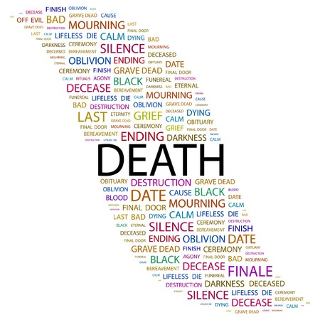 DEATH. Word collage on white background. Vector illustration.    Vector