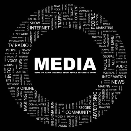 accessing: MEDIA. Word collage on black background. Vector illustration.