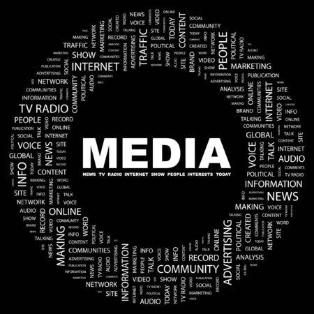 keywords background: MEDIA. Word collage on black background. Vector illustration.