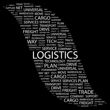 paper chain: LOGISTICS. Word collage on black background. Vector illustration.