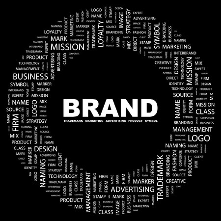 BRAND. Word collage on black background. Vector illustration. Stock Vector - 7371465