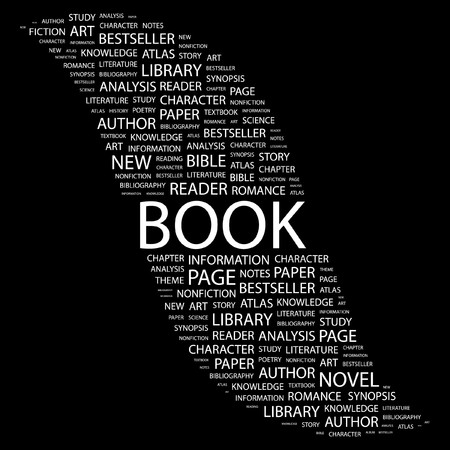 BOOK. Word collage on black background. Vector illustration.    Vector