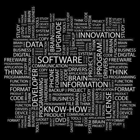 shareware: SOFTWARE. Word collage on black background. Vector illustration.    Illustration