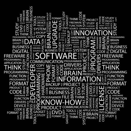 freeware: SOFTWARE. Word collage on black background. Vector illustration.    Illustration