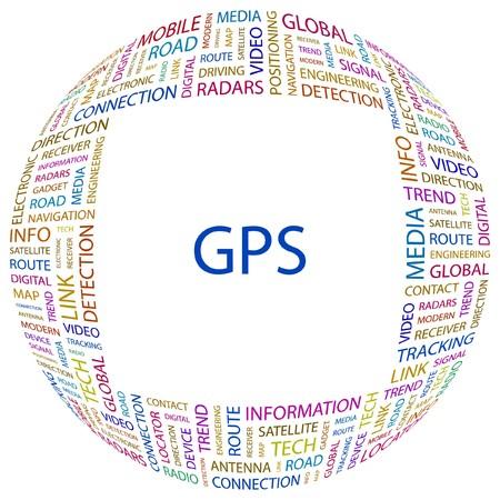 satellite navigation: GPS. Palabra collage sobre fondo blanco. Ilustraci�n vectorial.
