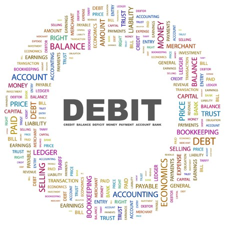 DEBIT. Word collage on white background. Vector illustration.    Vector