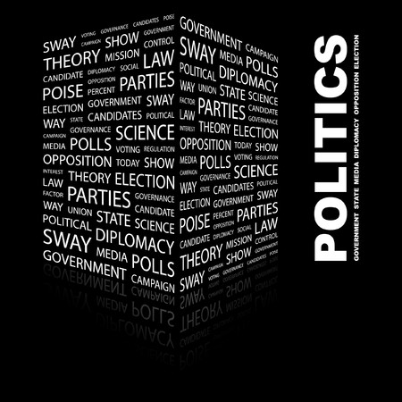 sway: POLITICS. Word collage on black background. Vector illustration.