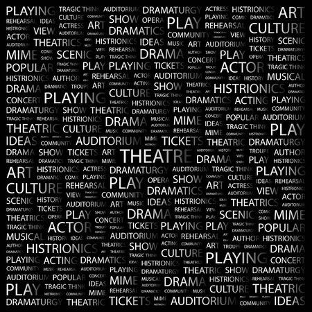 THEATRE. Word collage on black background. Vector illustration.    Illustration