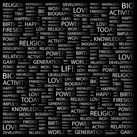 LIFE. Word collage on black background. Vector illustration.    Vector