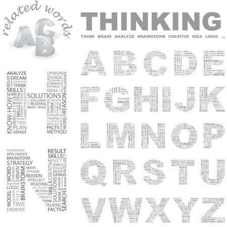 THINKING. Vector letter collection. Wordcloud illustration.   Vector