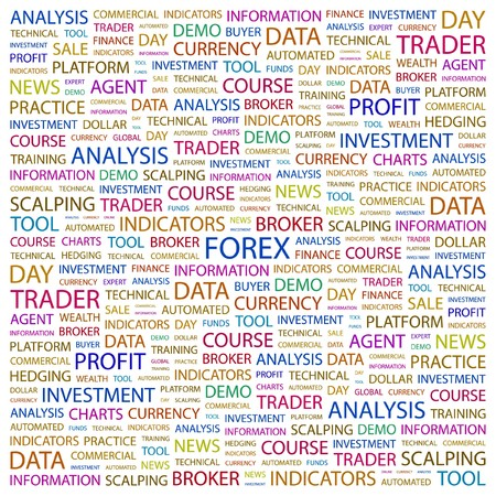hedging: FOREX. Word collage on white background. Vector illustration.