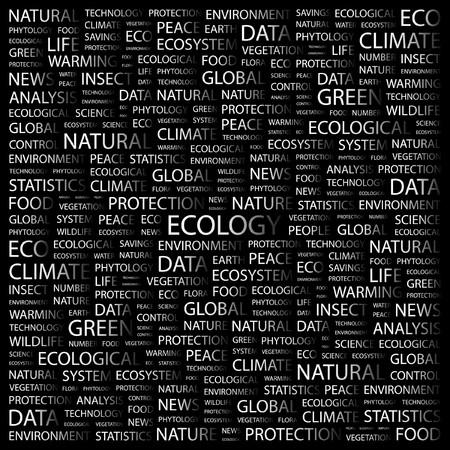 phytology: ECOLOGY. Word collage on black background. Vector illustration.