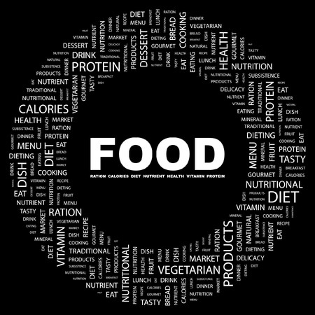 FOOD. Word collage on black background. Vector illustration.    Stock Vector - 7371529