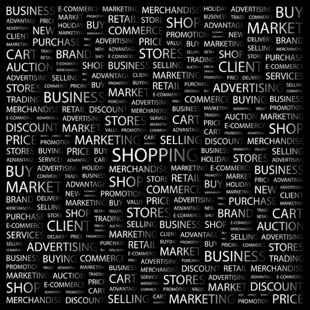 SHOPPING. Word collage on black background. Vector illustration. Stock Vector - 7371773