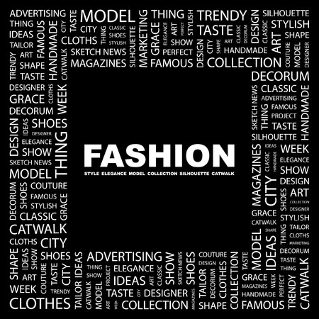 FASHION. Word collage on black background. Vector illustration.    Stock Vector - 7371433
