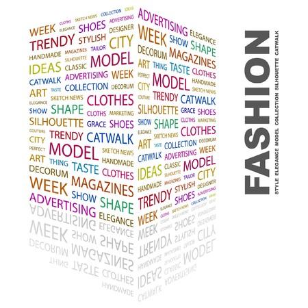 concepteur web: MODE. Collage de mot sur fond blanc. Illustration vectorielle.    Illustration