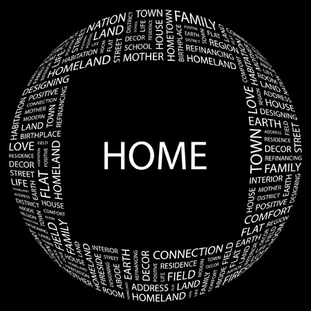HOME. Word collage on black background. Vector illustration.    Stock Vector - 7371557