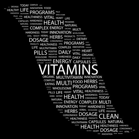 VITAMINS. Word collage on black background. Vector illustration. Stock Vector - 7371418