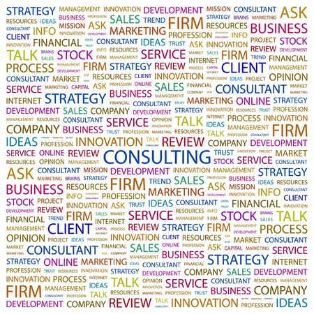 financial consultant: CONSULTING. Word collage on white background. Vector illustration.    Illustration