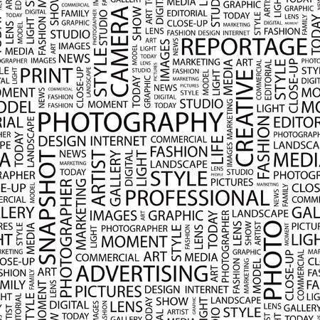 FOTOGRAFIE. Naadloze vector patroon met woord wolk.  Vector Illustratie