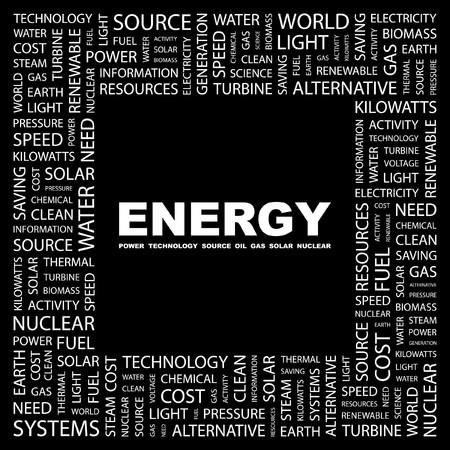 turbina de vapor: ENERG�A. Palabra collage sobre fondo negro. Ilustraci�n vectorial.