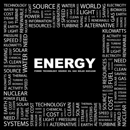 ENERGY. Word collage on black background. Vector illustration.    Stock Vector - 7371401