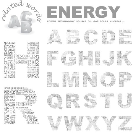 renewables: ENERGY. Vector letter collection. Wordcloud illustration.