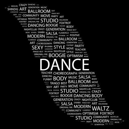 DANCE. Word collage on black background. Vector illustration.    Vector