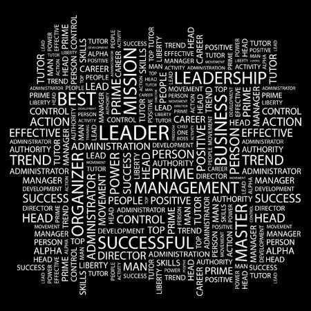 LEADER. Word collage on black background. Vector illustration.    Vector