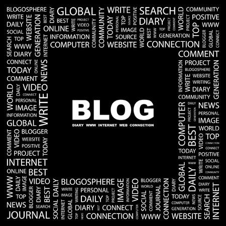 BLOG. Word collage on black background. Vector illustration.