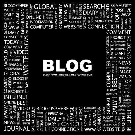 blogosphere: BLOG. Word collage on black background. Vector illustration.