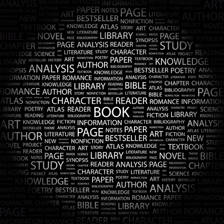 synopsis: BOOK. Word collage on black background. Vector illustration.    Illustration