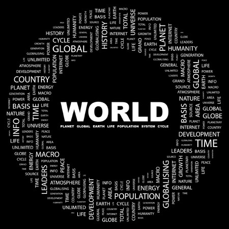WORLD. Word collage on black background. Vector illustration.    Vector