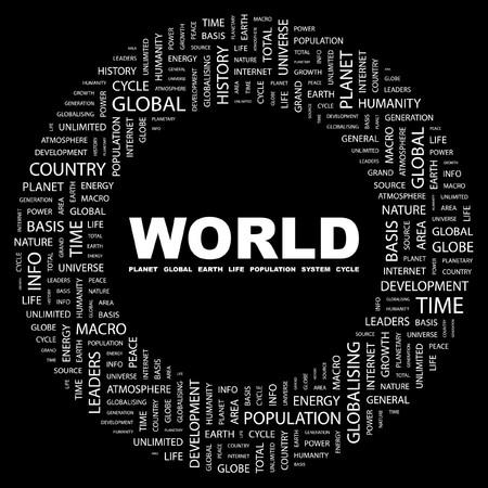 WORLD. Word collage on black background. Vector illustration.    Vector